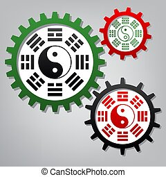 connecte, yin, tres, arrangement., bagua, yang, vector., ...