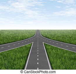 Connected and partnerships converging on the same road as a team sharing the same strategy and vision for the success of a company by working together as a conglomerate represented by three roads merging together into one with a sky and grass horizon.