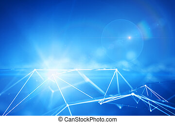 Abstract connected points forming polygonal pyramids on bright blue background. Technology concept. 3D Rendering