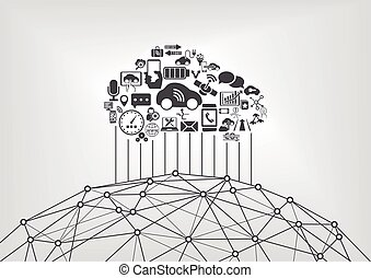Connected car and internet of things infographic concept. Driverless cars connected to the world wide web.