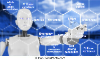 Connected car features infografic with robot