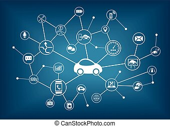 Connected car vector illustration. Concept of connecting to...