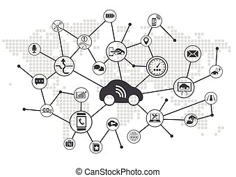 Connected car vector illustration infographic. Concept of...