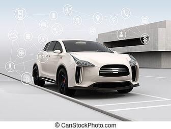 Connected cars and autonomous cars concept. 3D rendering...