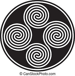 Four black and white celtic double spirals are forming a well known ancient celtic symbol. Vector illustration on white background.