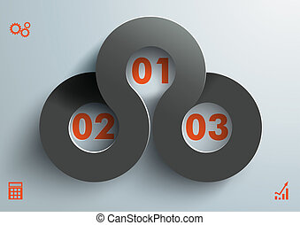 Connected Circles 3 Options Black Orange