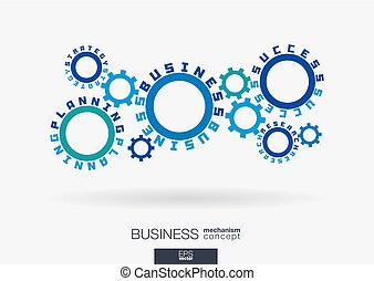 Connected cogwheels. Strategy planning, success business, research words. Integrated gears and text. Project development idea.
