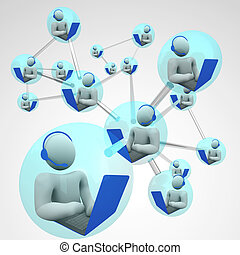 Connected Computer Communication Linked Networking - A...