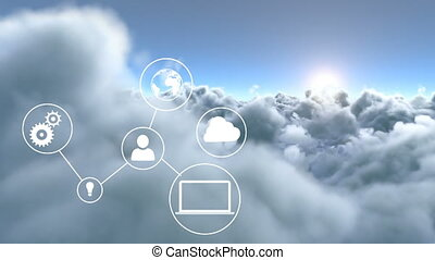 Connected device icons against clouds - Digitally generated...