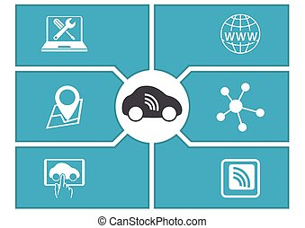 Connected driverless car symbols
