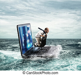 Connected in the sea web - Businessman sailing on a laptop...