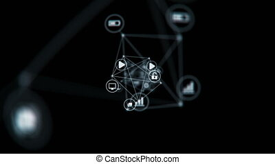 Connected Network Icons Symbols Flying in Abstract Space Changing. Lines and Dots. Beautiful Looped 3d Animation with DOF Blur. Digital Technology and Information Concept. 4k Ultra HD 3840x2160.