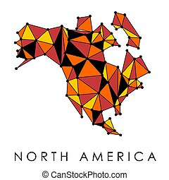 North America map vector - low-poly geometric style illustration. Connection network.