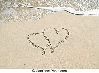 pair of hearts in beach sand