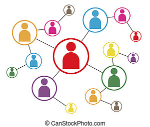 Connected People - Social Network Icon Map