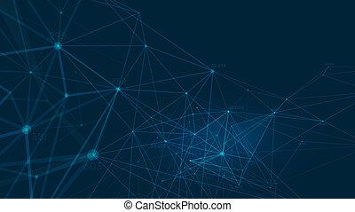 Connected polygons plexus vector background, digital data...