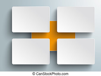 Connected Rectangles Infographic 4 Pieces Orange Centre PiAd
