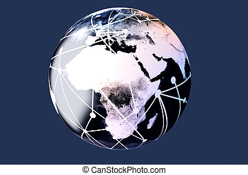 Connected World - 3D rendered Illustration. A cable...
