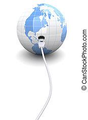 Connected World - 3D rendered Illustration. A ethernet...