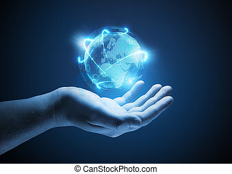 Connected World. Conceptual business illustration. A man ...