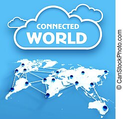 Connected world over communication earth map