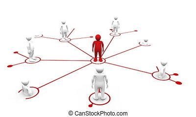 connecter, 3d-man, blanc, 3d-m, rouges