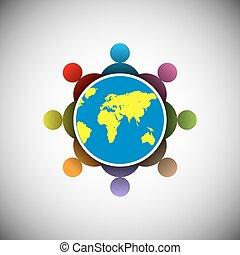 connecter, gens, concept
