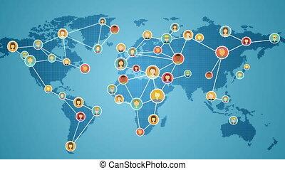 connecter, gens, mondiale