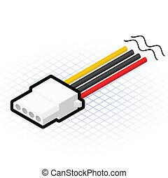 connecteur, épingle, isométrique, 4, puissance
