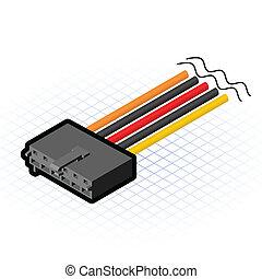 connecteur, aux, isométrique