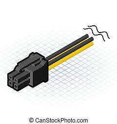 connecteur, pcie, isométrique, 4, épingle