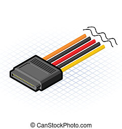 connecteur, sata, isométrique, épingle, 16