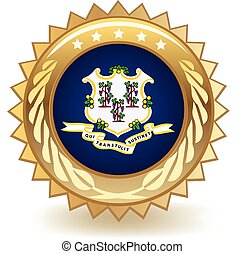 Connecticut Badge - Gold badge with the flag of Connecticut.