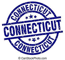 Connecticut blue round grunge stamp
