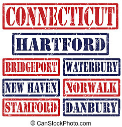 Connecticut Cities stamps - Set of Connecticut cities stamps...