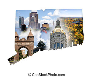 Connecticut Collage - The state of Connecticut in a montage...