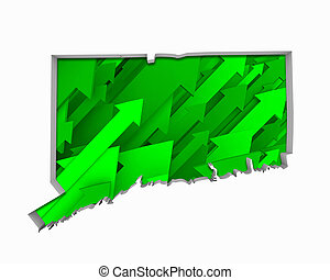 Connecticut CT Arrows Map Growth Increase On Rise 3d Illustration