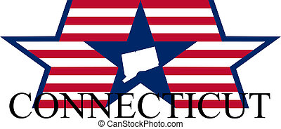 Connecticut state map, flag, and name.