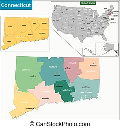 Connecticut map - Map of Connecticut state designed in...
