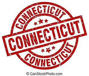 Connecticut red round grunge stamp