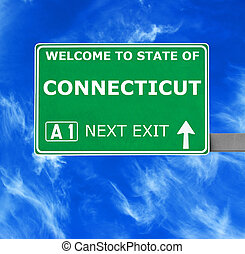 CONNECTICUT road sign against clear blue sky
