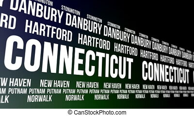 Connecticut State and Major Cities - Animated scrolling...