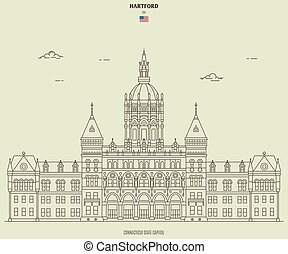 Connecticut State Capitol in Hartford, USA. Landmark icon in linear style