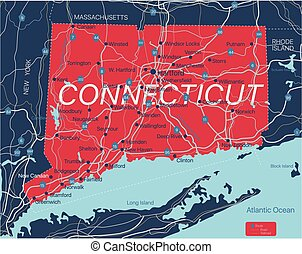 Connecticut state detailed editable map