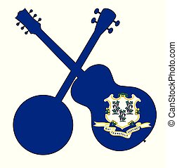 Connecticut State Flag Banjo And Guitar Silhouette