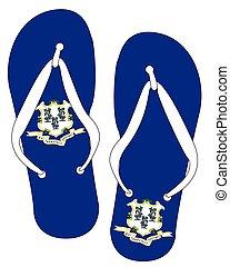 Connecticut State Flag Flip Flop Shoes