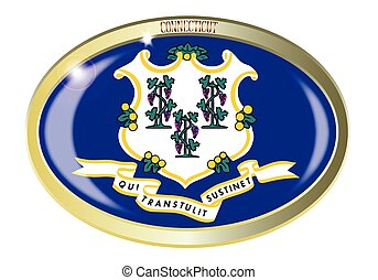 Connecticut State Flag Oval Button