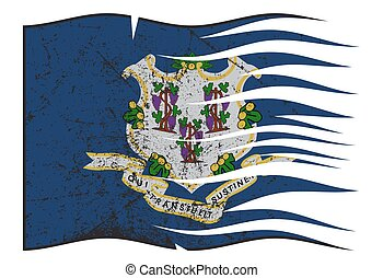 Connecticut State Flag Wavy And Grunged