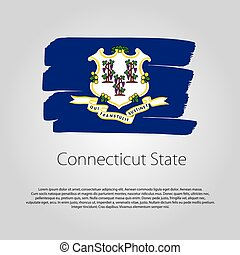 Connecticut State Flag with colored hand drawn lines in Vector Format