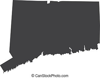 Connecticut state map in black on a white background. Vector illustration
